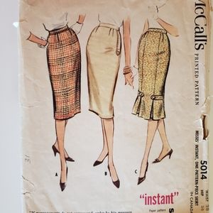 McCalls vintage 1950s pencil skirt pattern